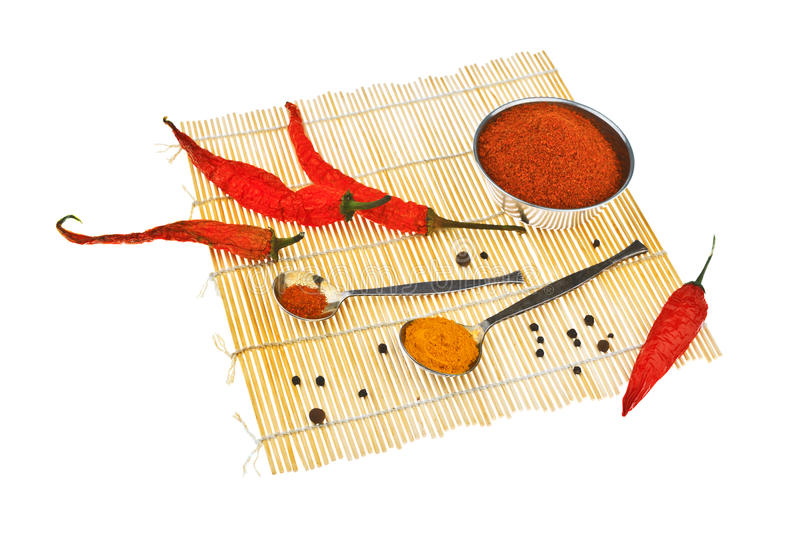Still life with red chili peppers. On white background stock image