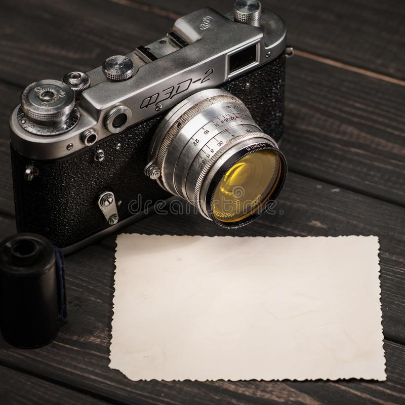 Still life with retro soviet photo camera FED-2 stock photos