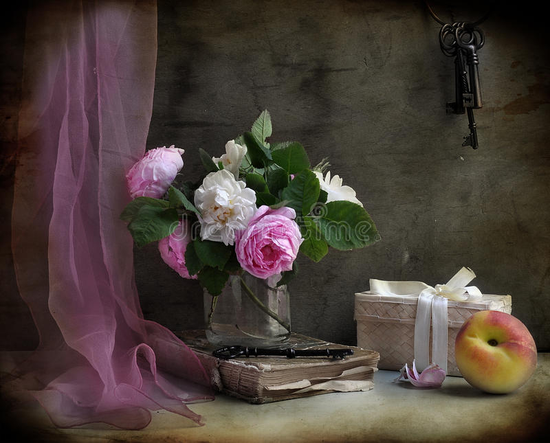 Still life with roses and peach royalty free stock images