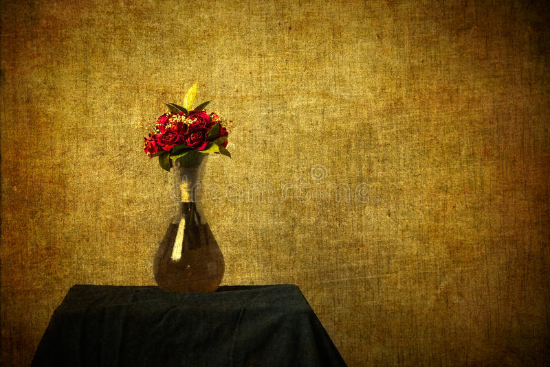 Still Life of Roses in Vase with Texture Added