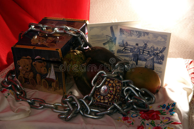 Still life with s abox and some fruit, 9 royalty free stock photography