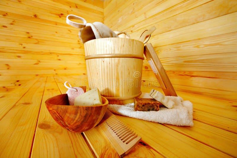 Still life with sauna accessories.