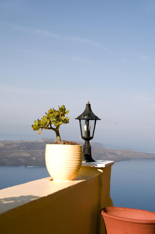 Download Still Life Scene With Flower Pot Santorini Stock Photo - Image: 15724488
