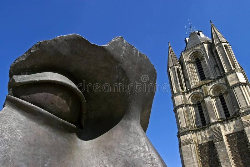 Still life of sculpture and bell tower, Angers royalty free stock images