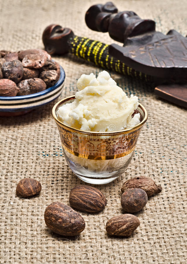 Still Life Of Shea Butter Ad Nuts Stock Photography