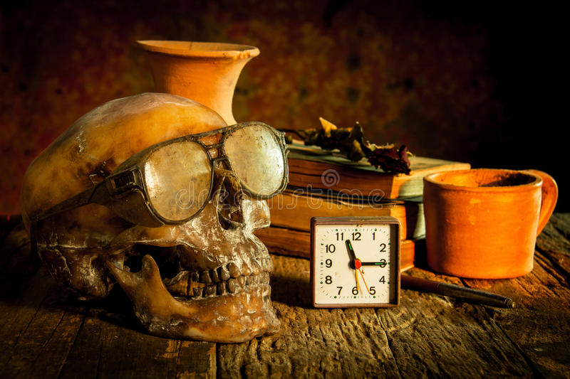 Still Life with a Skull wearing sunglasses royalty free stock image