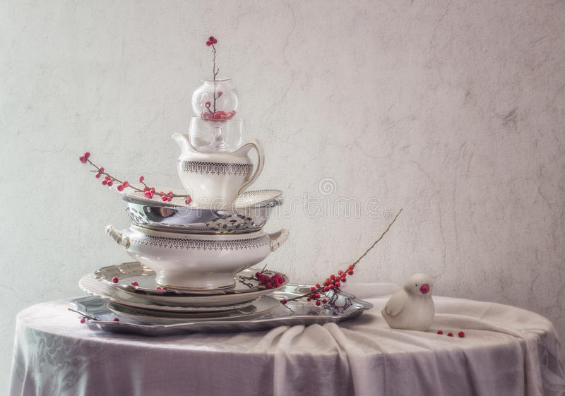 Still life with slide vintage ware royalty free stock image