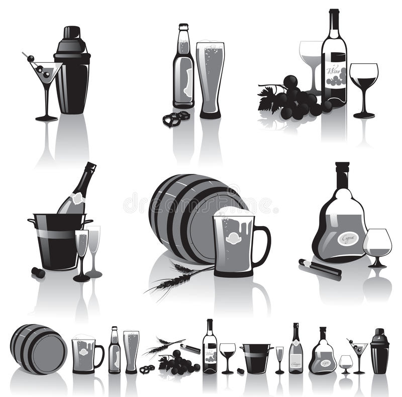 Download Still-life Of Spirits And Glasses Stock Vector - Image: 27551819