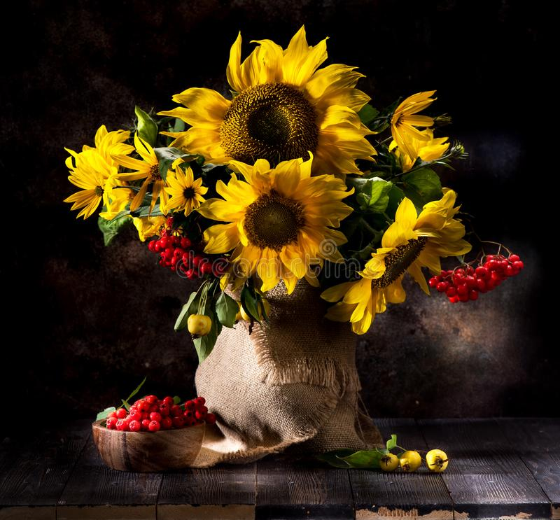 Still life with sunflowers in a vase royalty free stock photos