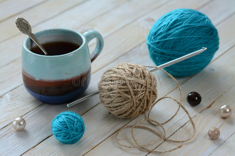 Still life with tangles and coffee royalty free stock image