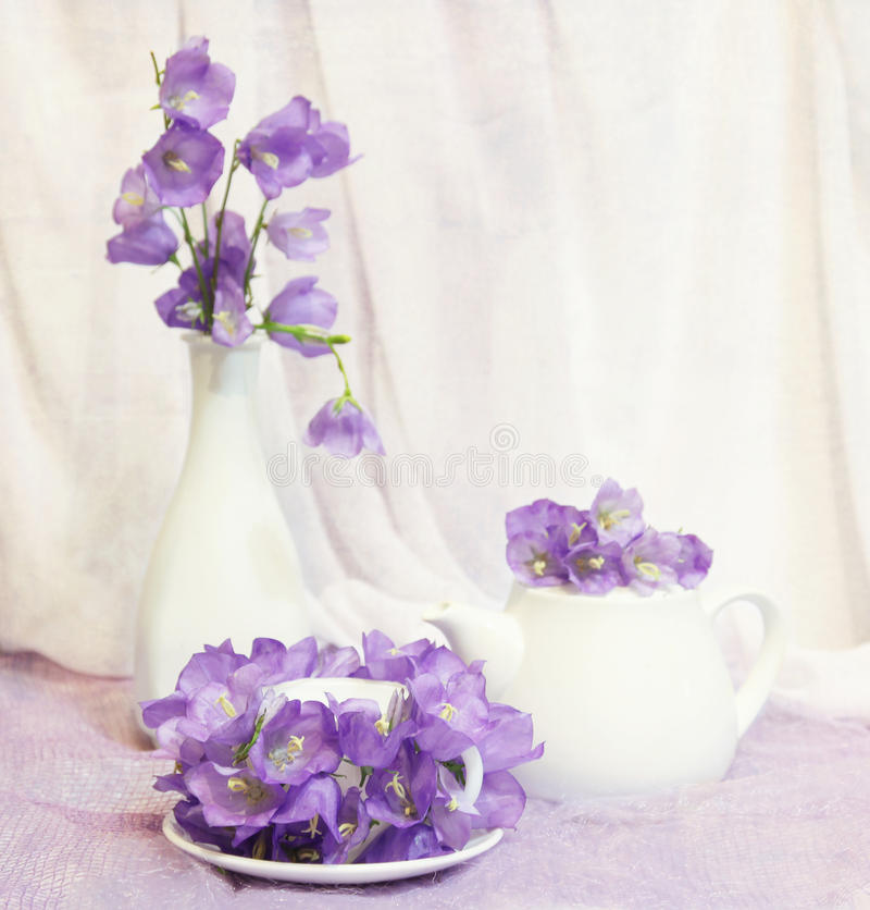 Still life with tea cup and violet bell flowers