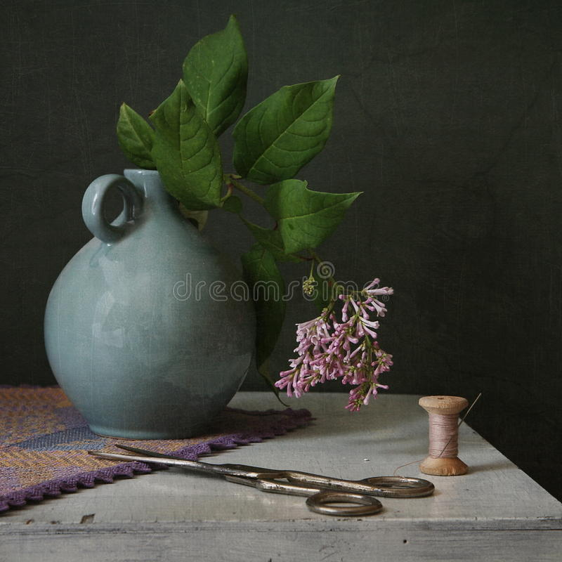 Still life with a threads stock photo