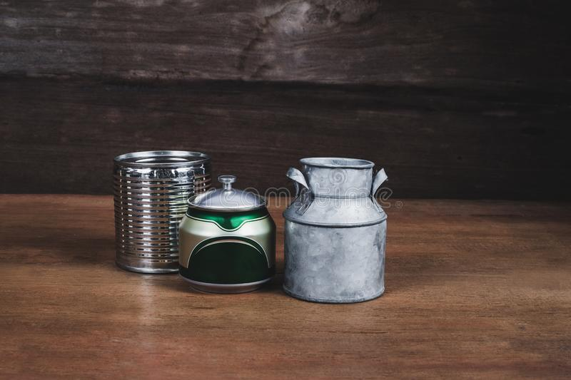 Still life Tin can on wood table. Background stock photos