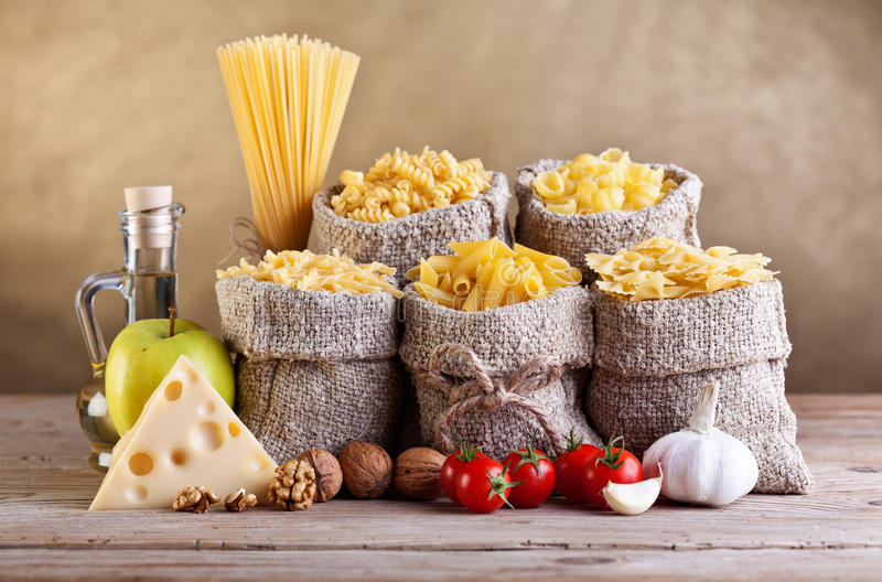 Still life with traditional food ingredients stock photo