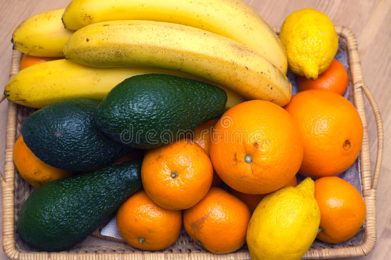 Still life with tropical fruits closeup stock photography