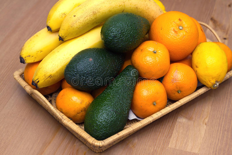Still life with tropical fruits closeup stock photo