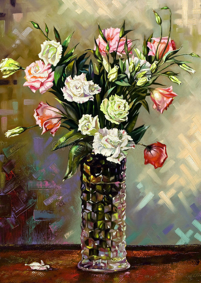 Still-life with a vase royalty free illustration