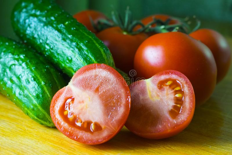 Still life of vegetables. Close-up of tomatoes royalty free stock image