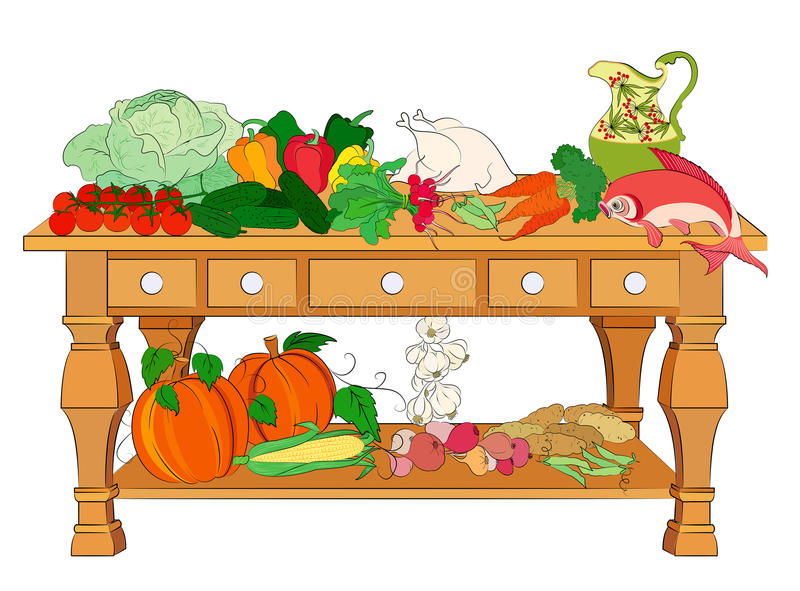 Still life with vegetables, fish & chicken royalty free illustration