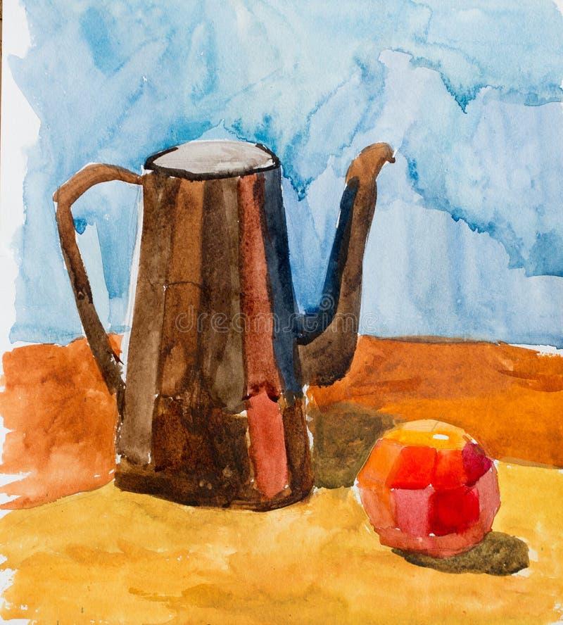 Still life, watercolor drawing stock photo
