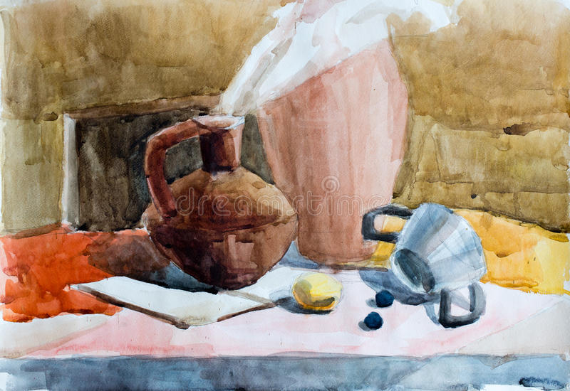 Still life, watercolor drawing stock photography