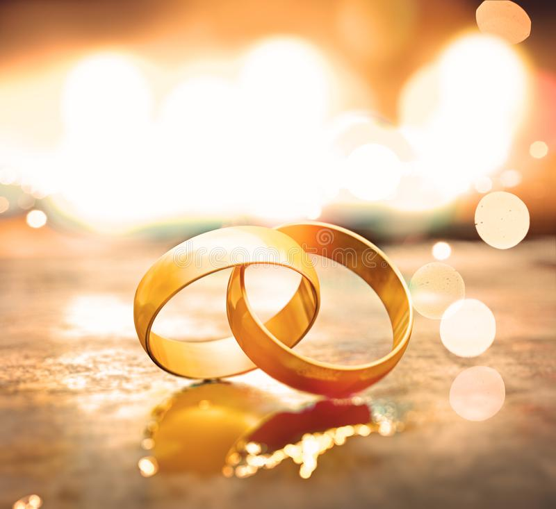 Still life of wedding rings. Romantic background of  jewelry and marriage stock illustration