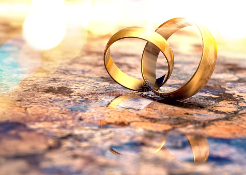 Still life of wedding rings. Romantic background of  jewelry and marriage royalty free illustration