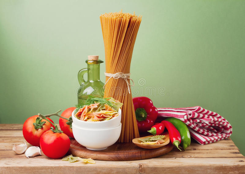 Still life with whole wheat pasta royalty free stock image