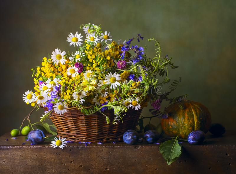 Still life with wild flowers stock photos