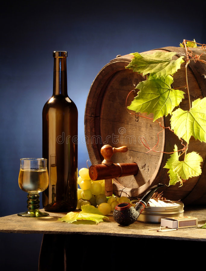 Download Still-life With Wine On Blue Stock Image - Image: 2382931