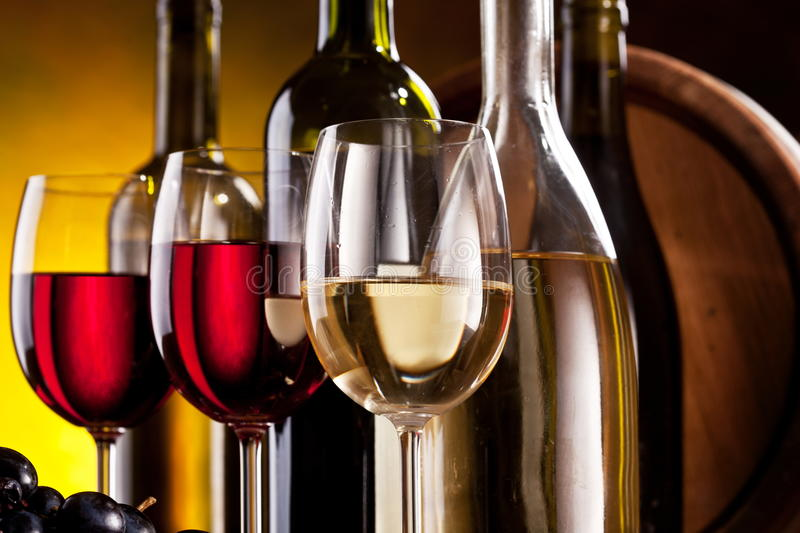 Still life with wine glasses stock image