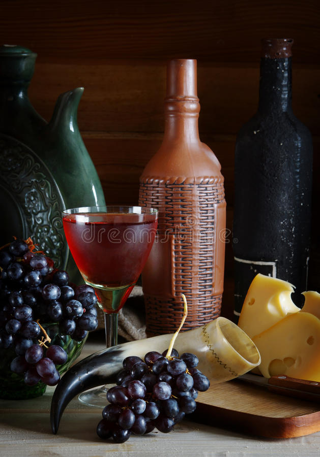 Download Still Life With Wine, Grape And Cheese Stock Image - Image of full, cluster: 34326475