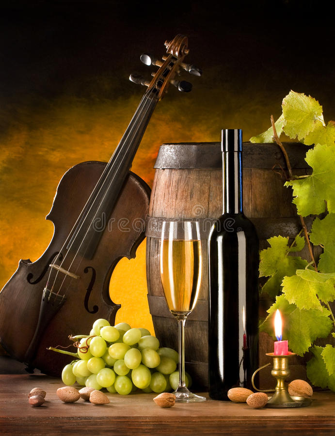 Download Still Life With Wine And Violin Stock Image - Image: 11736397