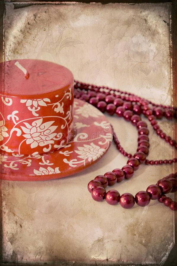 Free Still-life With A Red Candle And A Beads Royalty Free Stock Photography - 11708947