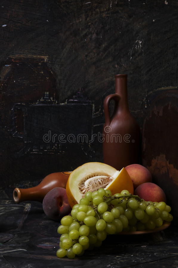 Free Still-life With Grapes, Peaches And Bottles Royalty Free Stock Image - 12779186
