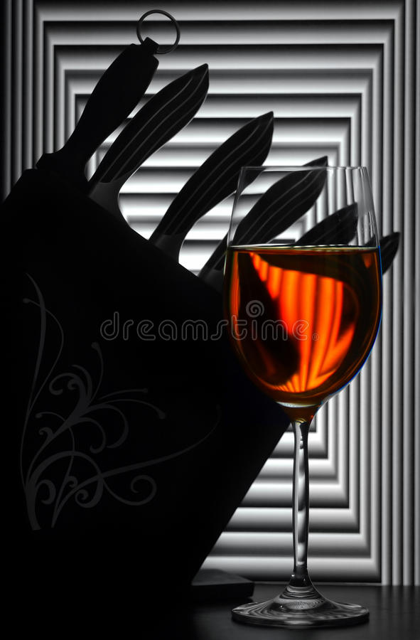 Free Still Life With Wine Glass And Knives Stock Photos - 16104903