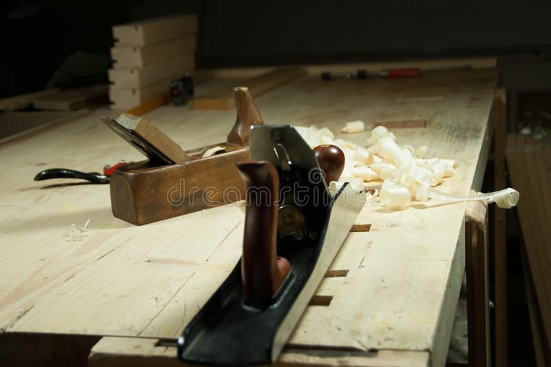 A still life in a woodworking shop of two planes. royalty free stock images