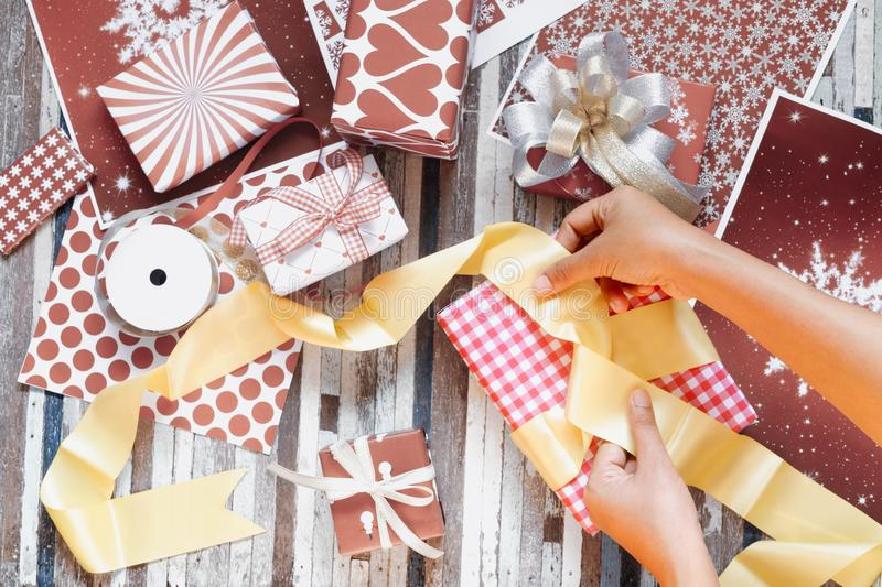 Still life of wrapping gift boxes for Merry Christmas and Happy new year. Presents for any holiday concept. Abstract, anniversary, art, background, birthday royalty free stock image