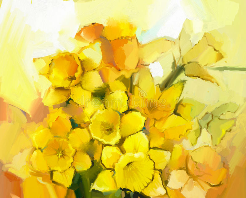 Still life of yellow and orange color flowers royalty free illustration