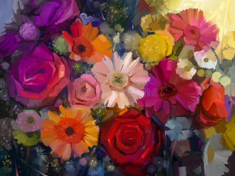Still life of yellow, red and pink color flower. Oil Painting stock illustration