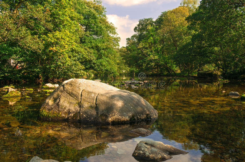 Still Rocky Tree Shaded River with Reflections. English Lake District royalty free stock photo