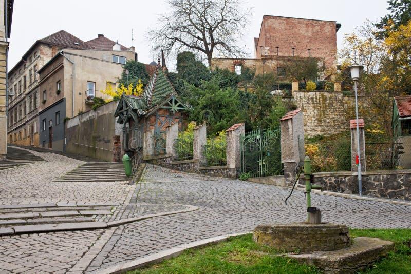 Still street in Zatec town. Czech Republic stock images