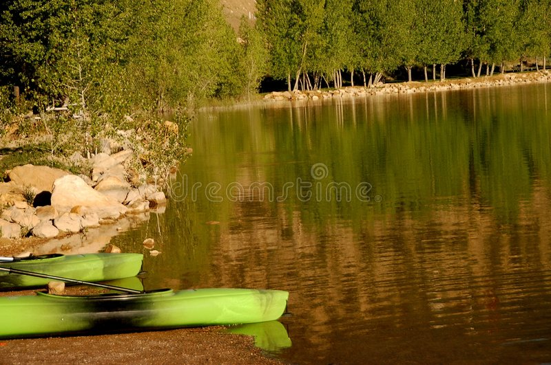 Still waters at Palisade Lake in Utah stock photo