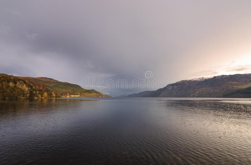 Still waters of Loch Ness. Looking noerth east up the full length of Loch Ness from Fort Augustus, Scotland royalty free stock photo
