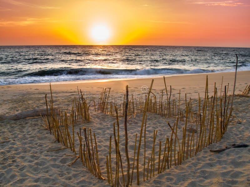 Stilla havet för solnedgångstrandvän royaltyfria bilder