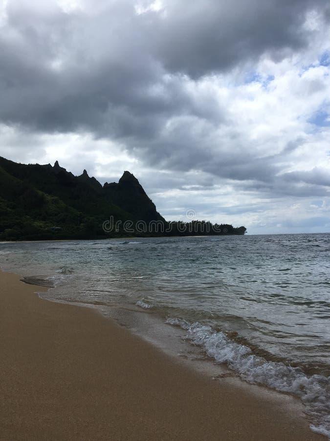 Stilla havetvågor på tunnelstranden på den norr kusten på den Kauai ön, Hawaii royaltyfri bild