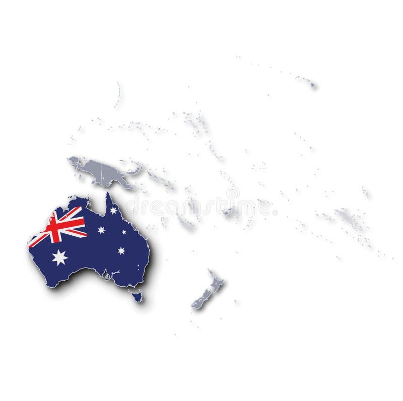 Stillahavs- översikt med Australien royaltyfri illustrationer