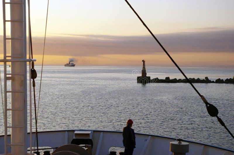 Stillahavs- aftonhav royaltyfri fotografi
