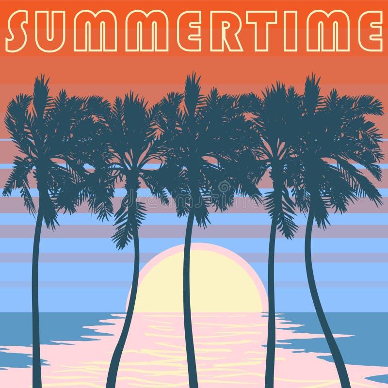 Stillahavs- Palm Beach affisch Apelsinen gör randig himmel royaltyfri illustrationer