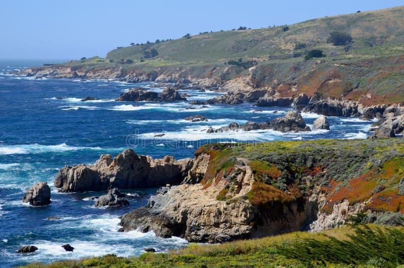 Stillahavskusten stora Sur, Kalifornien, USA arkivbilder